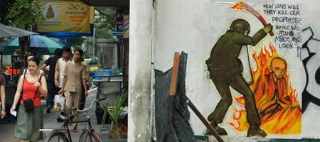 Anti-Olympic Graffiti On The Streets of Bangkok, Thailand